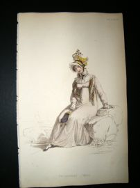 Ackermann 1815 Hand Col Regency Fashion Print. Promenade Dress 14-28